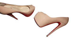 Christian Louboutin Patent Leather nude patent Platforms