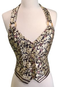 Emporio Armani multi floral with dark navy & cream stripe lining Halter Top
