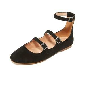 Madewell Straps Buckle Suede Black Flats
