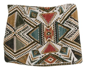 Mango Embroidered Aztec Mini Festival Tribal Mini Skirt Multi
