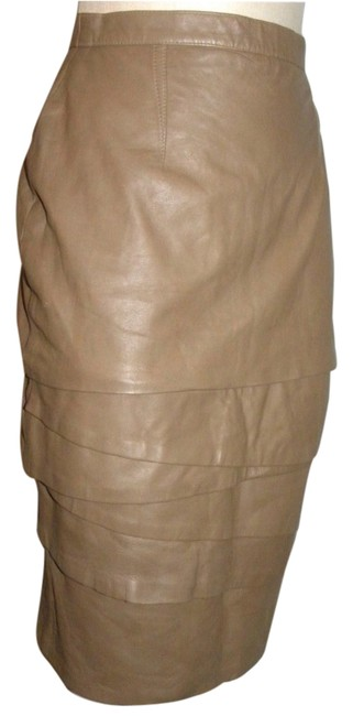 Taupe Vintage Avant Garde Leather Layered Skirt Size 6 (S, 28) Taupe Vintage Avant Garde Leather Layered Skirt Size 6 (S, 28) Image 1