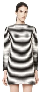 T by Alexander Wang short dress black and white Nautical Striped Boatneck Mini on Tradesy