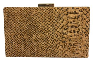 Sondra Roberts Embossed Snake Reptile Python Tan, Brown, Black Clutch