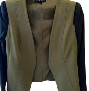 Theory black, green Leather Jacket