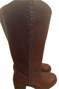 Frye Leather Braided Chunky Heel Like New Brown Boots