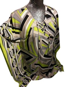 Michael Kors Batwing Dolman Abstract Tie Neck Womens Shirt Top Lime Green