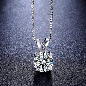 1ct Round White Topaz Solitaire Necklace Free Shipping
