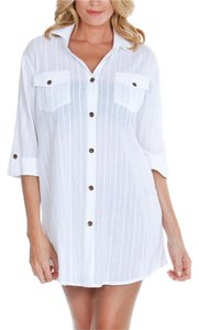 dotti button down shirt dress cover up small white