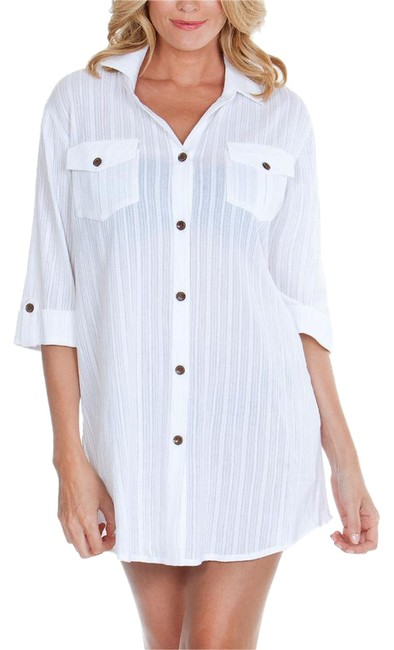 Item - White Button Down Shirt Dress Small Cover-up/Sarong Size 4 (S)