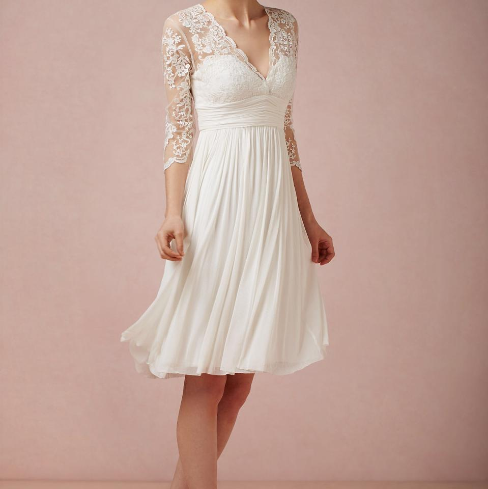 BHLDN Ivory Omari Short Lace Feminine Wedding Dress Size 14 (L ...