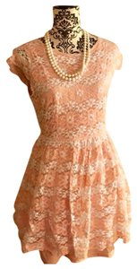 American Rag short dress Light pink/Peach and white on Tradesy