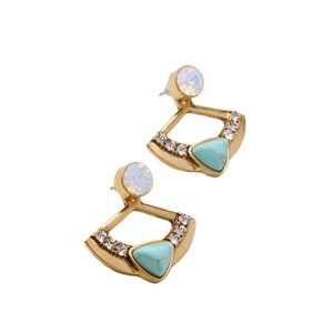 Other Iridescent Stone Marble Jacket Statement Earrings