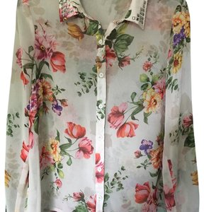 Forever 21 Button Down Shirt Cream, Red, Green,Yellow,Pink,Purple
