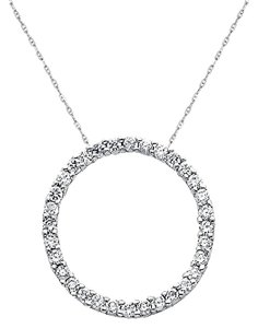 Other 14k White Gold Circle Pendant with 1mm 16 inches Chain Necklace