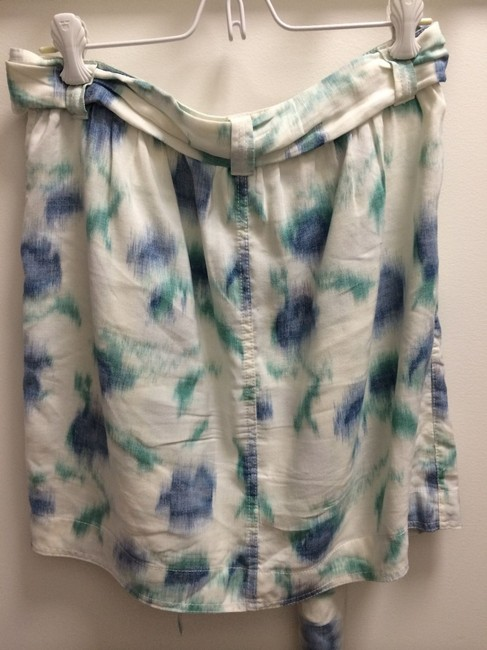 Generra Linen Watercolor Print Skirt White, Blue, Green