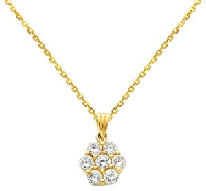 Other 14k Yellow Gold Cluster Flower Pendant with 1.2mm Cable Chain Necklace