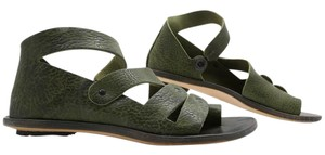CYDWOQ Hand Made Leather Eclectic Festival Leaf Green Sandals