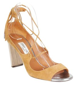 Jimmy Choo Suede Block Wood Brown Sandals