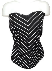 White House | Black Market Black with White Strips Halter Top