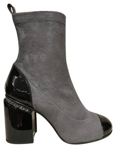 Chanel Block Chain Stiletto Ankle grey Boots