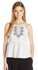 BCBGeneration Crop Ruffle Linen Top Blue/White Combo