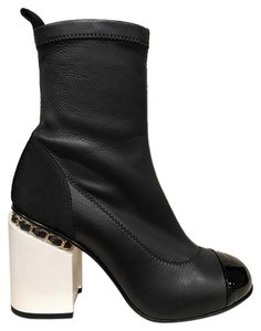 Chanel Chain Stiletto Ankle black Boots