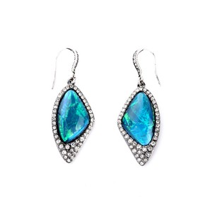 Other Blue Iridescent Stone Statement Earrings