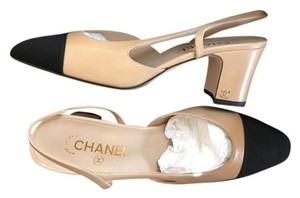 Chanel Slingbacks Beige Two Tone Cc Beige Slingback Size 38 Beige Black Pumps