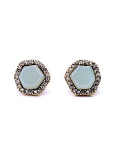 Other Blue Pave Stone Stud Earrings