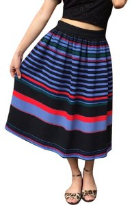 Zara Woman Striped Stripe Red Black Skirt Multicolor