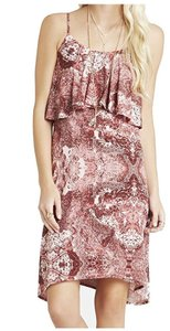 BCBGeneration short dress Cedar Rose Combo Cami Ruffle Trim Printed on Tradesy