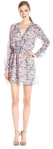 BCBGeneration short dress Deep Blue/Multi Floral Pink Long Sleeve on Tradesy