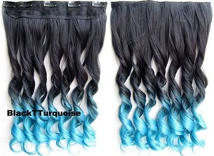 Natural Black To Turquoise Full Head Hair Extension Free Shipping