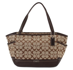 Coach Signature Fabric Leather Brown Shoulder Bag