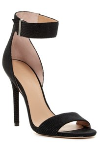 Halston Leather Open Toe Textured Padded Footbed Wrapped Heel Black Sandals