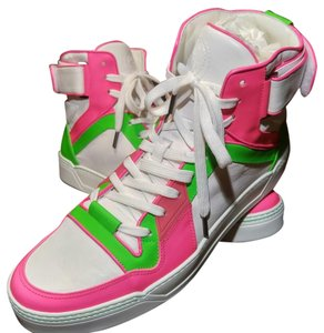 Gucci Men Sneakers Logo White Pink Green Neon Athletic