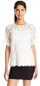 BCBGeneration Lace Short Sleeve Top White
