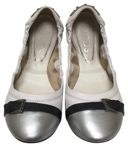 Tod's Leather Ballet Off White, Black, Metallic Silver Flats
