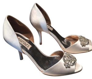 Badgley Mischka White Satin Pumps