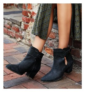 Free People Ankle Black Cutout Leather Washed Black Boots