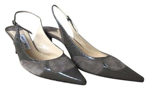 Jimmy Choo Suede Slingbacks Patent Leather Gray Pumps