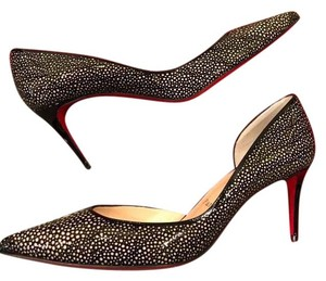 Christian Louboutin Heels Kitten Heel Laser Cut Black/Nude Pumps