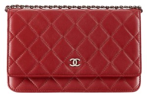 Chanel WOC On A Chain RED Quilted Lambskin CC Flap Classic Cross Body Bag 00V