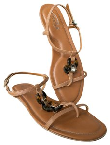 Tod's Leather Tortoise Tan Sandals