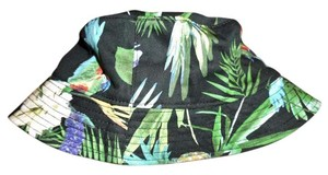H&M Hawaiian Floral Parrots Palm Trees Print Bucket Beach Hat