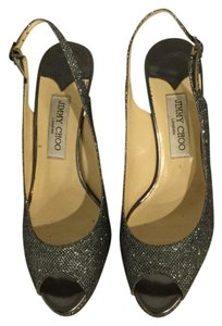 Jimmy Choo Silver Glitter Formal