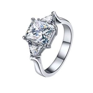 Other 2.4ct Emerald and trillion 925 CZ engagement ring