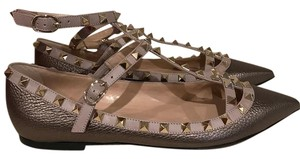 Valentino Rockstud Studded Caged Metallic Ankle Strap gold Flats