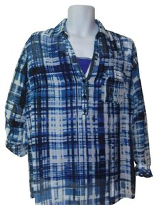 New York & Company Top marching blue