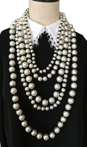 Chanel Chanel Runway Statement 5 Strands White Pearl Long Necklace